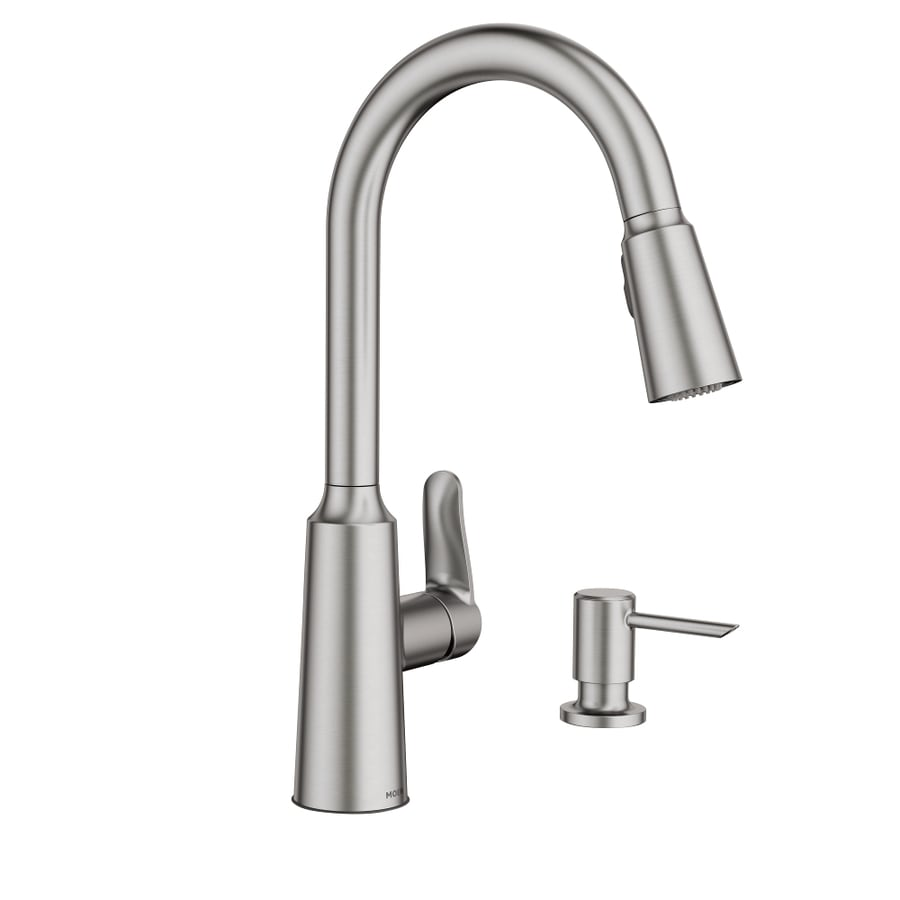 moen edwyn spot resist stainless 1 handle deck mount pull down handle kitchen faucet deck plate included lowes com
