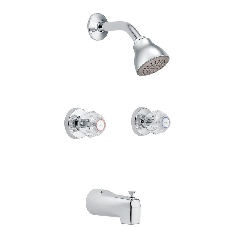 moen chateau chrome 2 handle bathtub and shower faucet with valve