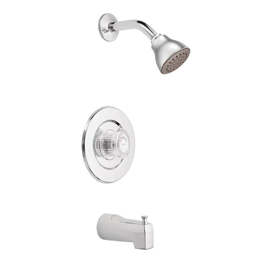 moen chateau chrome 1 handle bathtub and shower faucet in the shower faucets department at lowes com