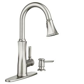 kitchen sink faucet drum light faucets at lowes com moen lizzy spot resist stainless 1 handle deck mount pull down