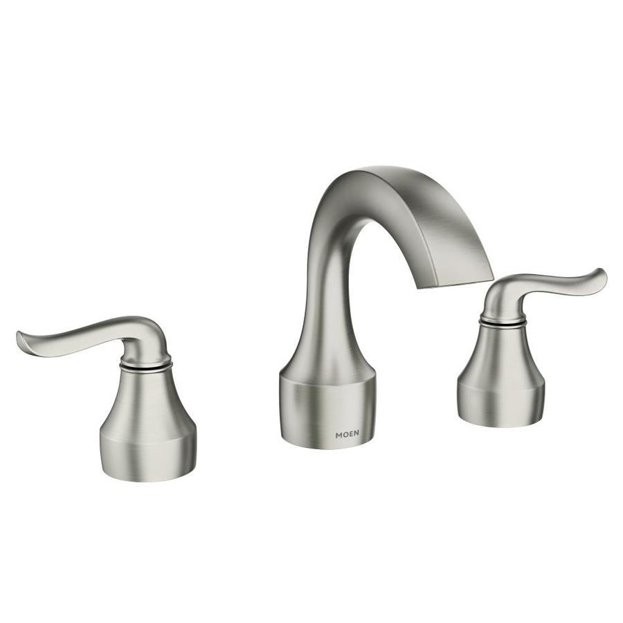 Moen Hamden Spot Resist Brushed Nickel 2handle Widespread WaterSense Bathroom Sink Faucet with