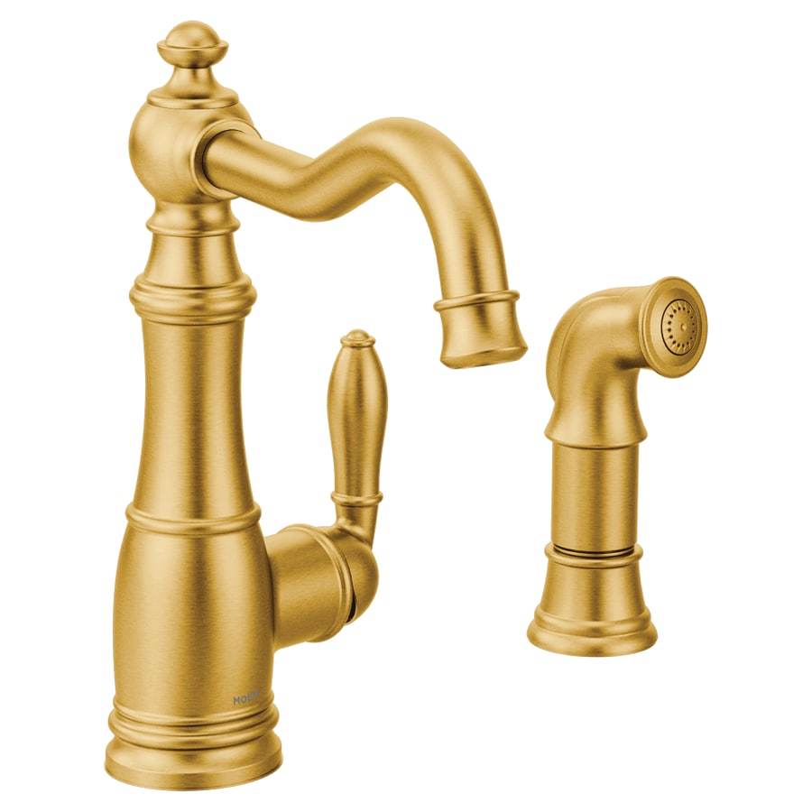 https www lowes com pd moen weymouth brushed gold 1 handle deck mount high arc handle lever commercial residential kitchen faucet 1000744414