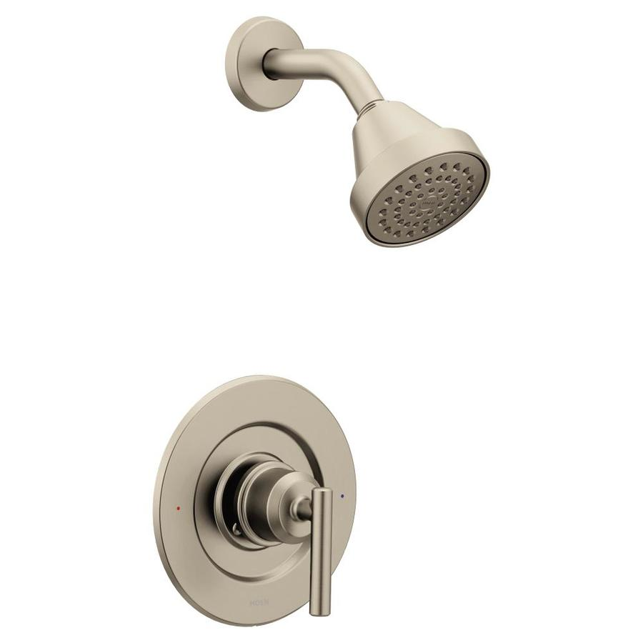 moen gibson brushed nickel 1 handle shower faucet in the shower faucets department at lowes com