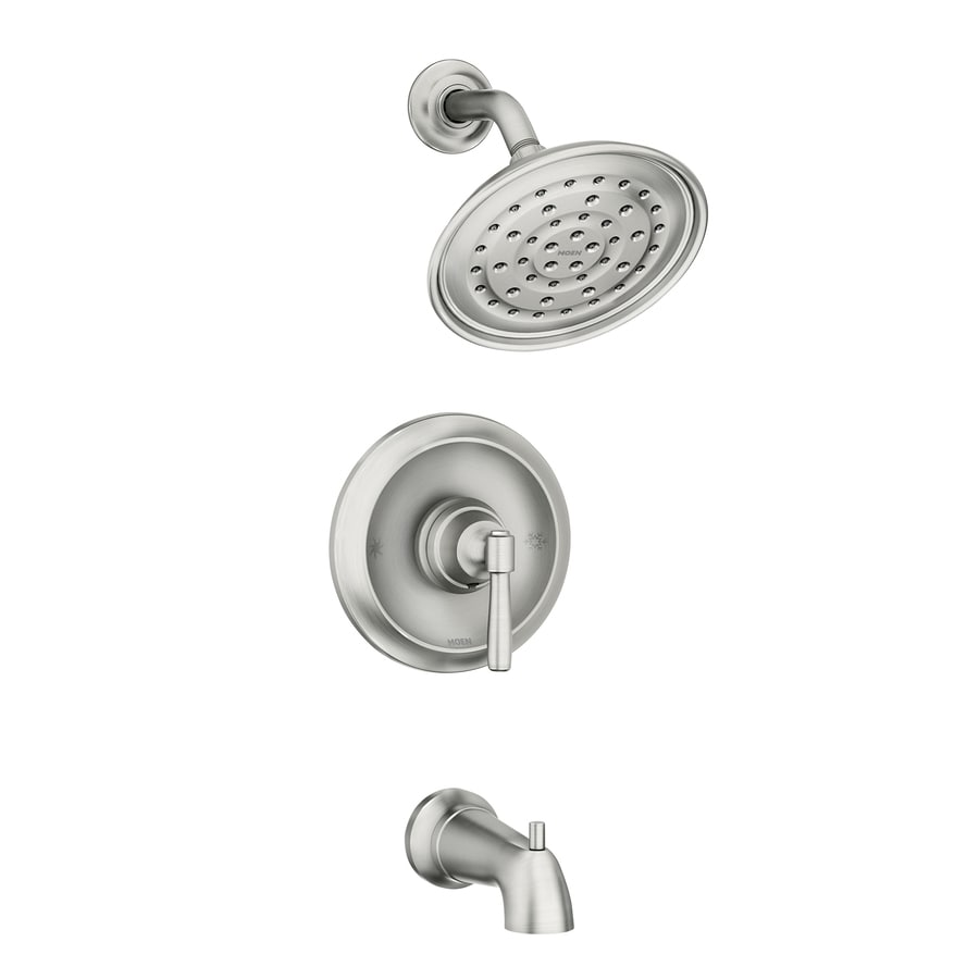 moen halle spot resist brushed nickel 1 handle bathtub and shower faucet with valve