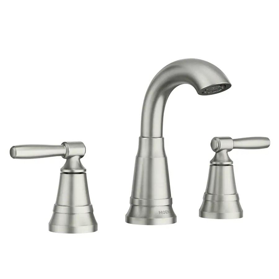 moen halle spot resist brushed nickel 2 handle widespread watersense bathroom sink faucet with drain