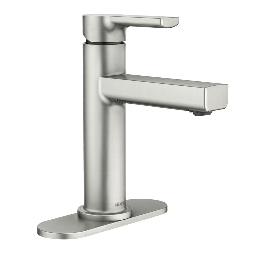 moen rinza spot resist faucet 1 handle single hole watersense bathroom sink faucet with drain and deck plate