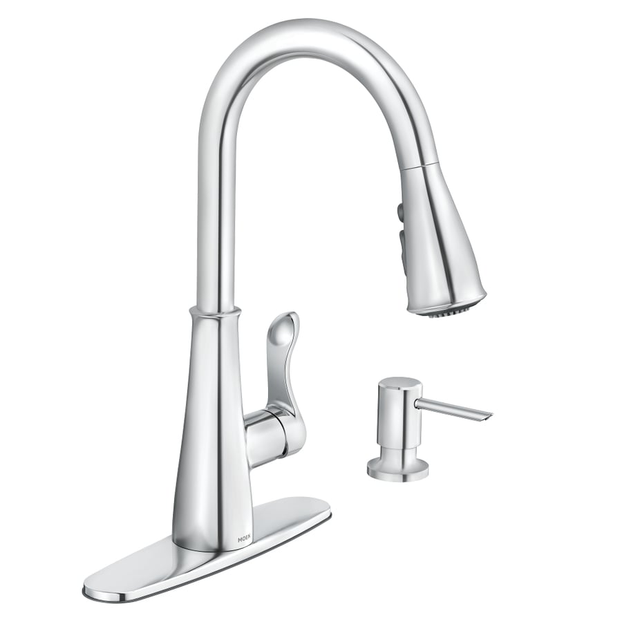 chrome kitchen faucet tall tables moen hadley 1 handle deck mount pull down at