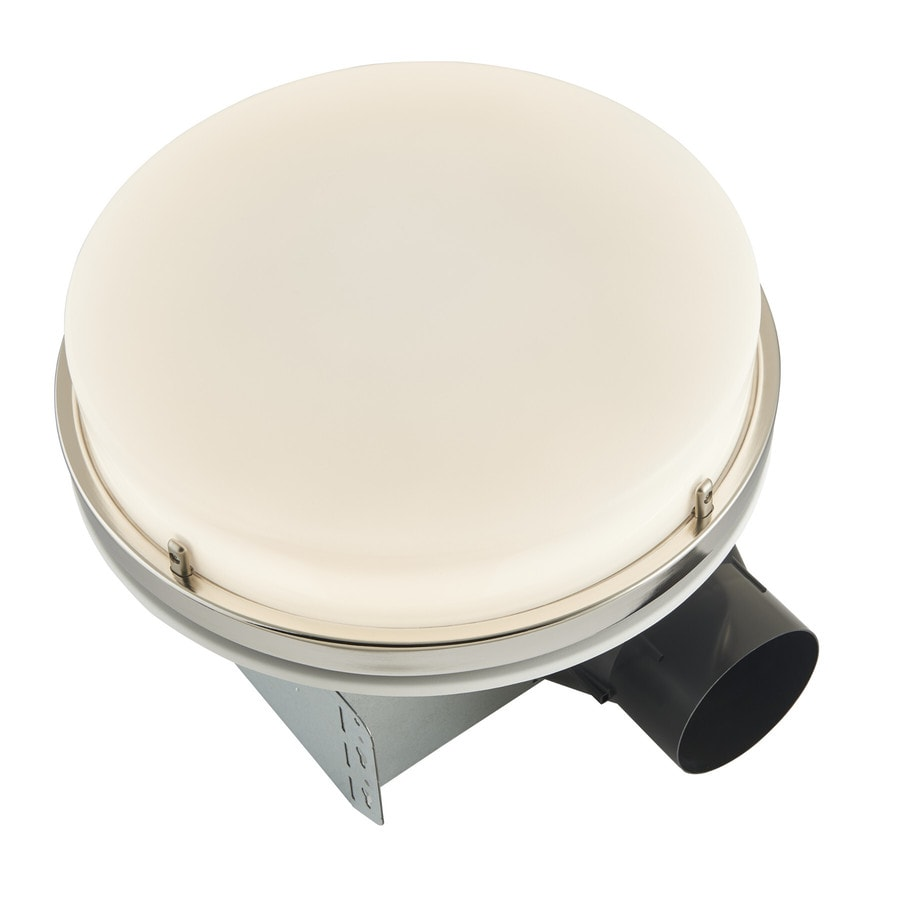 broan 110 cfm decorative bathroom exhaust fan with led light in brushed nickel energy star