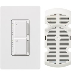 lutron maestro 300 watt single pole white touch indoor combination dimmer and fan control [ 900 x 900 Pixel ]