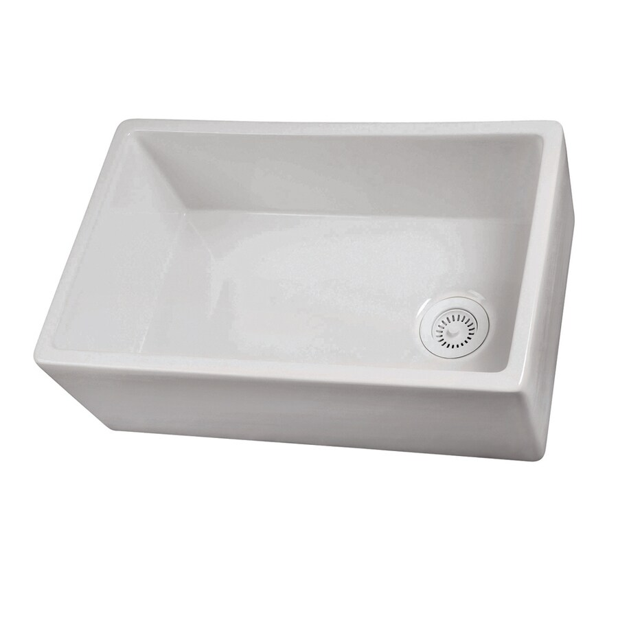 lowes white kitchen sink mirrored cabinets shoptagr barclay 29 75 in x 17 5 single basin fireclay lowe s