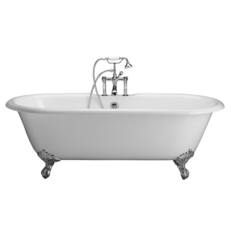 Shop Barclay Cast Iron Oval Clawfoot Bathtub With Center Drain Common 31 In X 67 In Actual