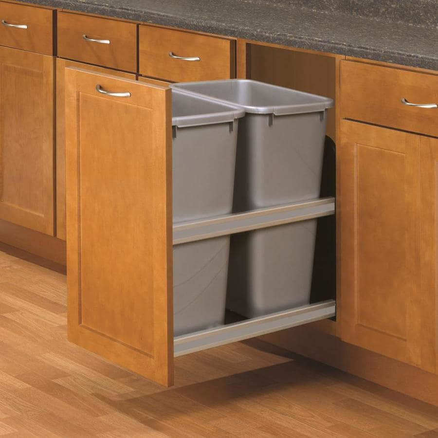 lowes kitchen pantry aid gas stove shop knape & vogt 50-quart plastic pull out trash can at ...