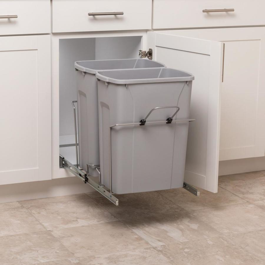 simply put 35 quart plastic pull out trash can lowes com