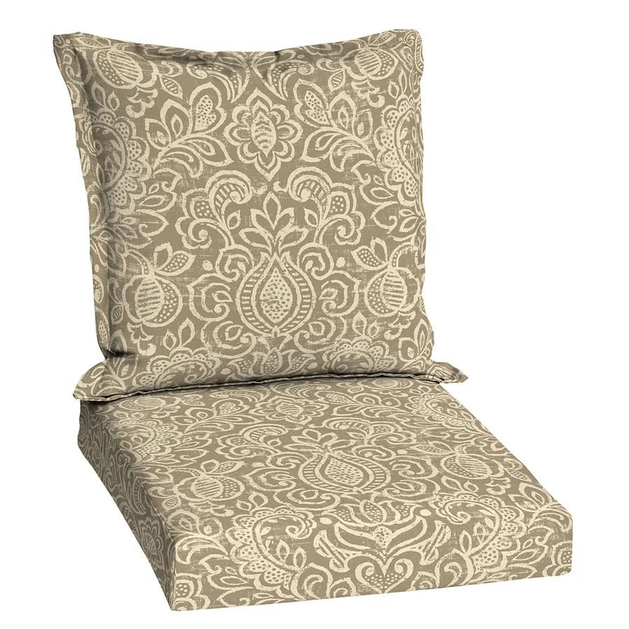 patio chair cushions lowes memory foam bean bag shop garden treasures neutral stencil damask deep seat cushion for ...