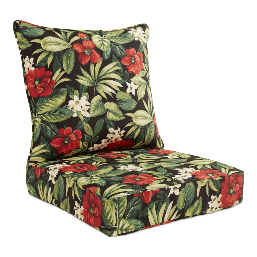patio chair cushions lowes upholstered desk target shop garden treasures 2-piece sanibel black tropical deep seat cushion at lowes.com