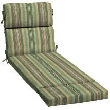Allen Roth 1-piece Green Stripe Patio Chaise Lounge