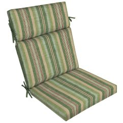 Patio High Back Chair Cushions Bedroom With Wheels Allen Roth 1 Piece Green Stripe Cushion At