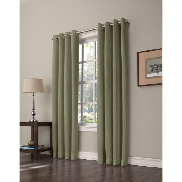 Allen Roth Romanby 63-in Sage Green Polyester Grommet Room Darkening Single Curtain Panel