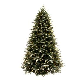7 5 Ft Pre Lit Flocked Artificial Christmas Tree With 1200 Constant Warm White Led