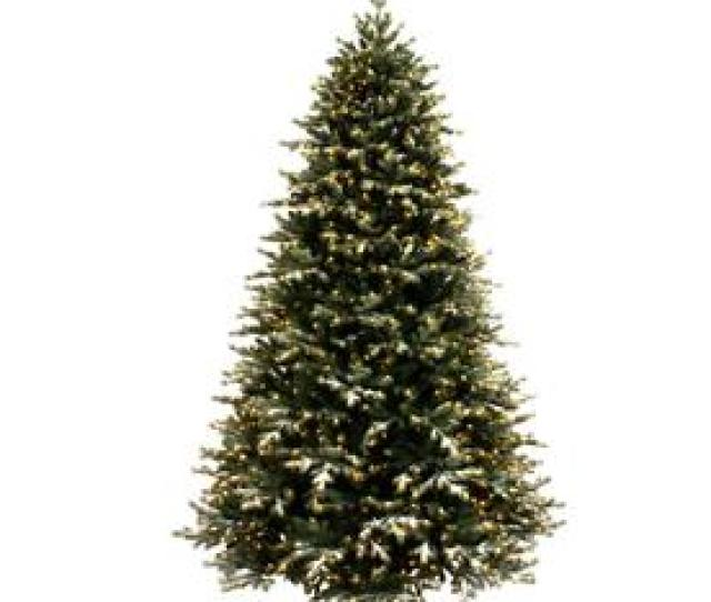 Ft Pre Lit Flocked Artificial Christmas Tree With  Constant Warm White Led