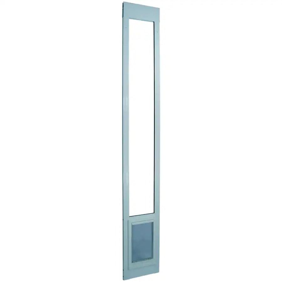 ideal pet products aluminum pet patio large 71 90 lb white aluminum sliding pet door lowes com