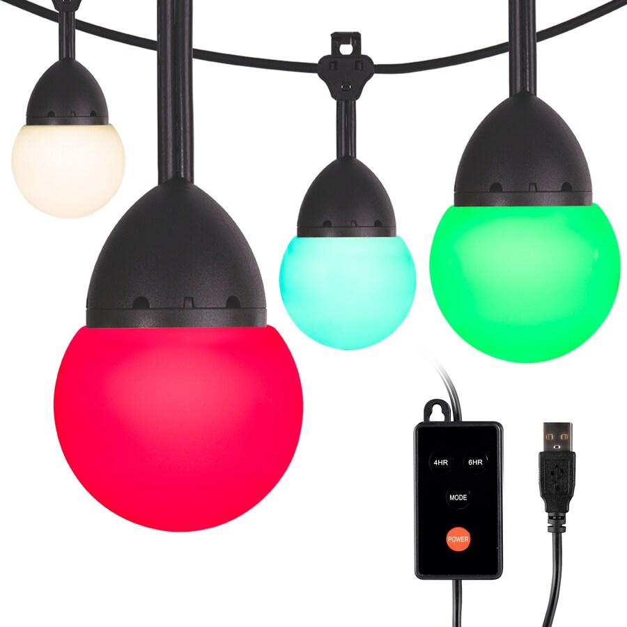 enbrighten 12 ft 12 light plug in color changing led string lights