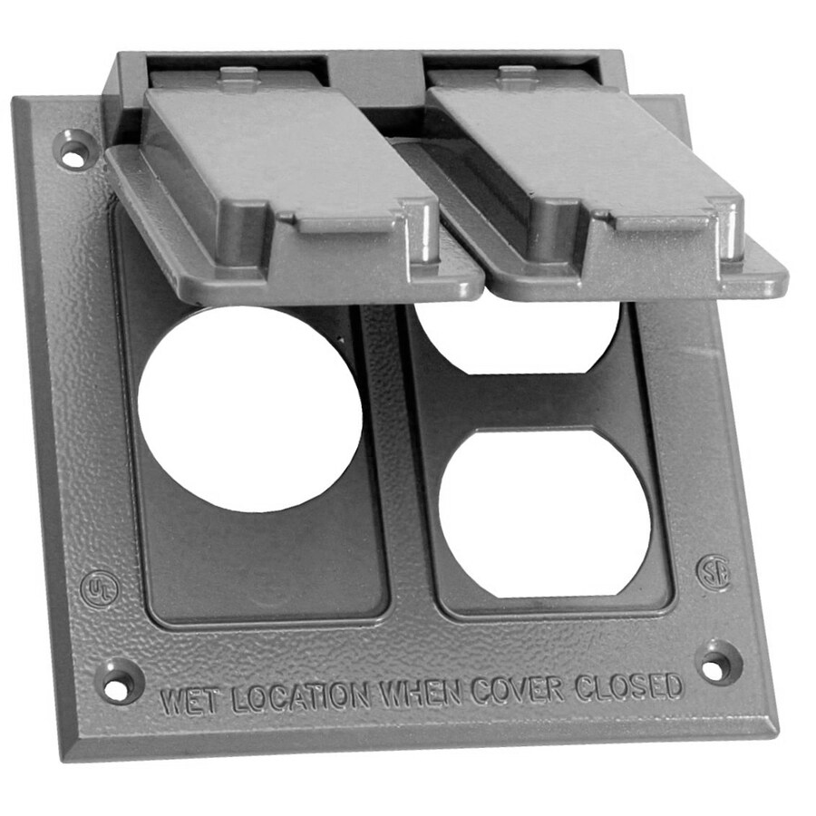 sigma electric metallic gray die cast metal 2 outlet weatherproof electrical outlet cover