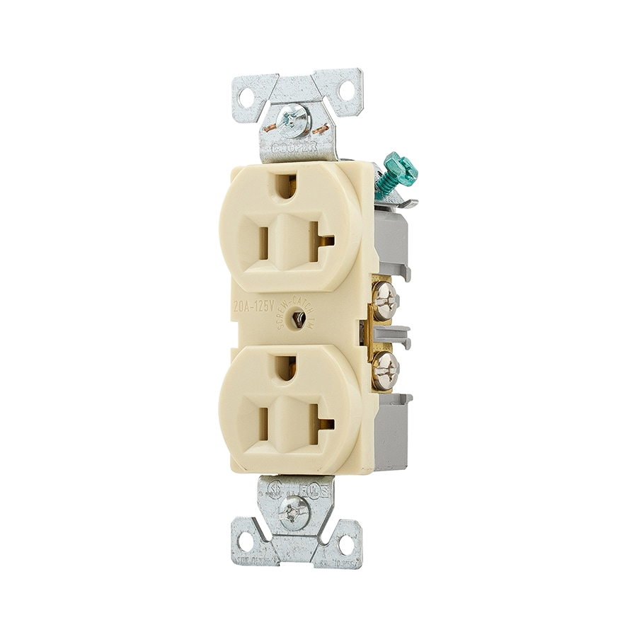 medium resolution of eaton ivory 20 amp duplex outlet commercial wall plate sold separately