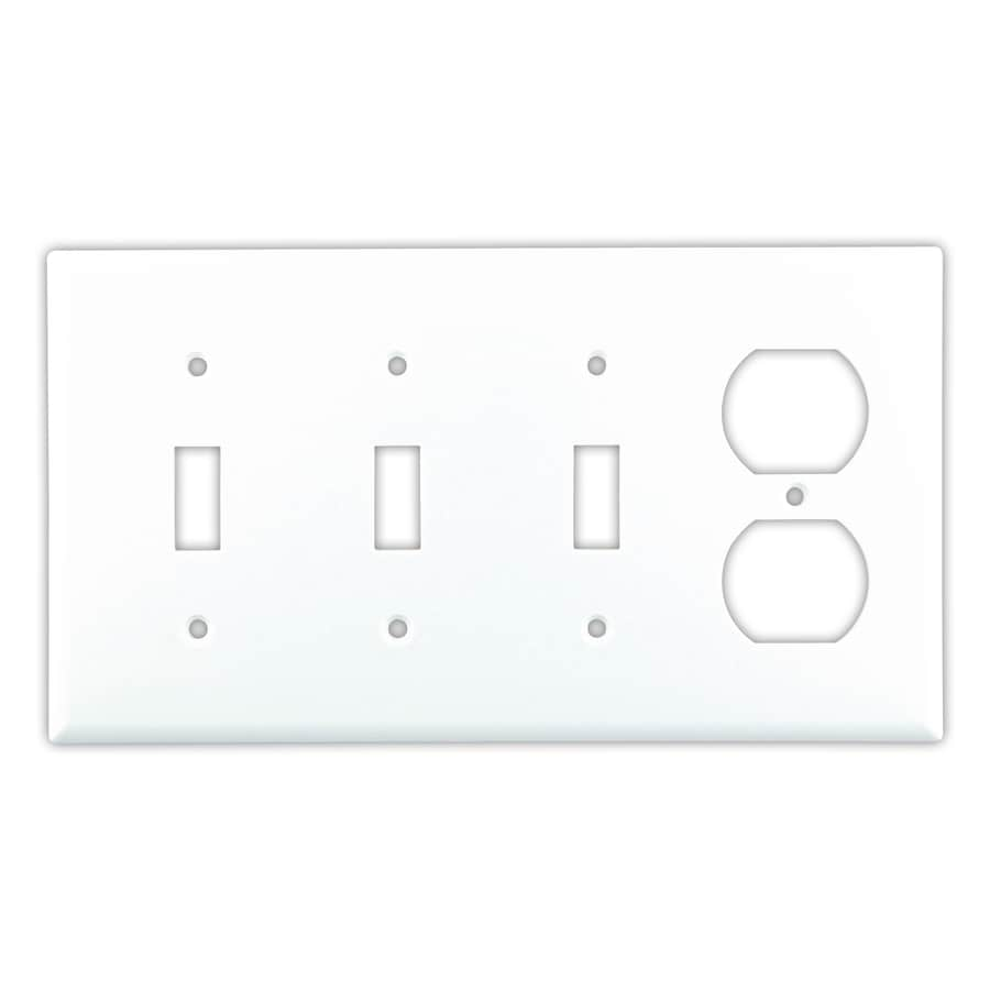 Cooper Wiring Devices 4-Gang White Wall Plate at Lowes.com