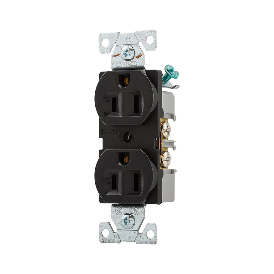 medium resolution of eaton black 15 amp duplex commercial outlet at lowes com 20 amp electrical outlet wiring cooper wiring devices 15 amp