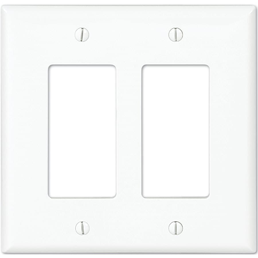 Shop Eaton 2-Gang White Double Decorator Wall Plate at