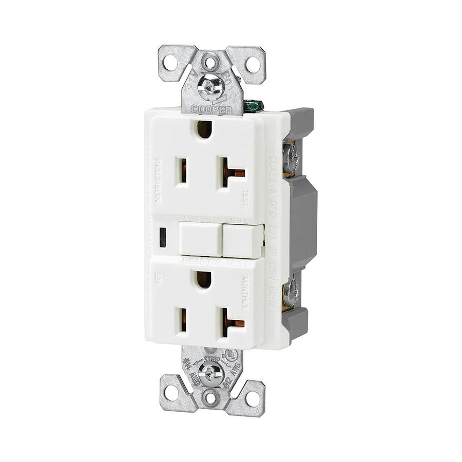 cooper gfci outlet wiring diagram jeep tj soundbar devices white 20 amp decorator commercial at lowes com