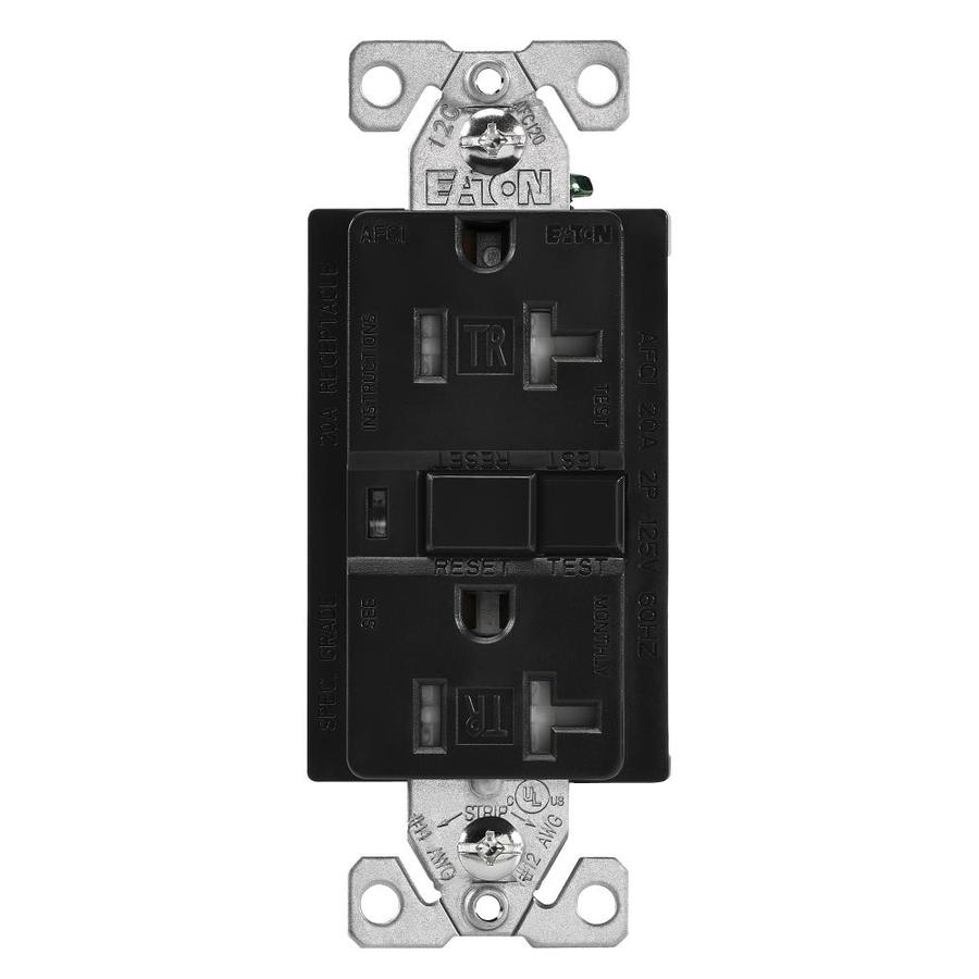 hight resolution of eaton black 20 amp decorator tamper resistant afci residential commercial outlet
