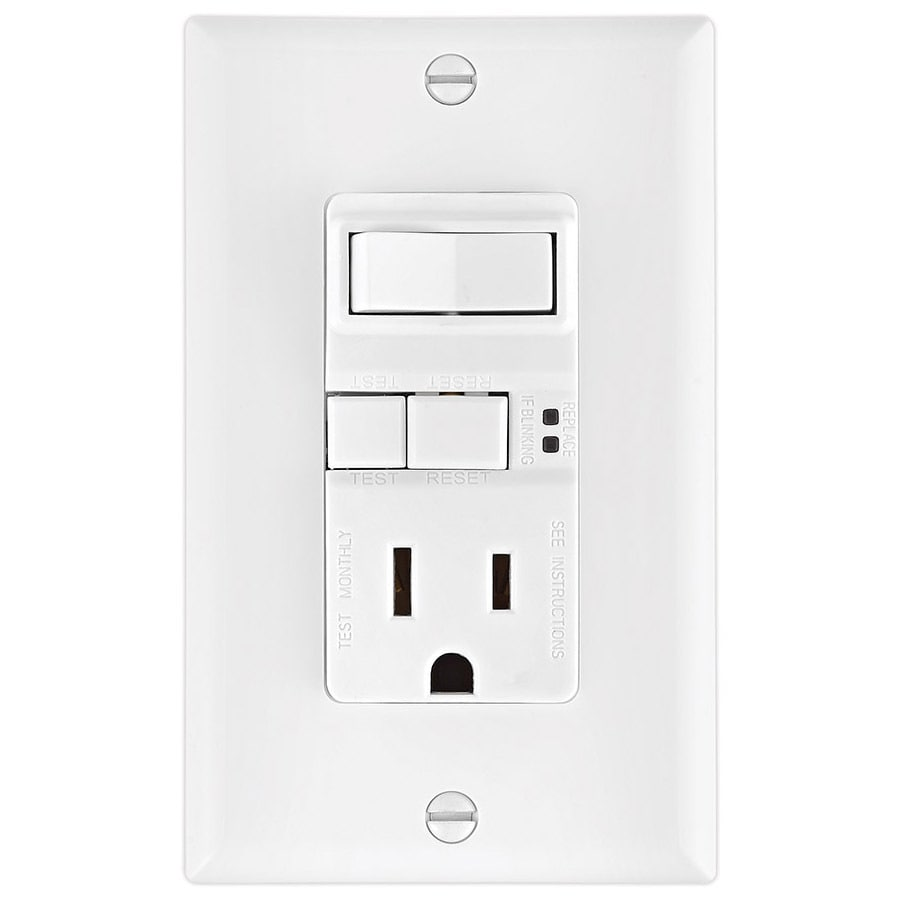 hight resolution of eaton white 15 amp decorator gfci residential outlet switch at lowes com cooper wiring devices 15 amp light switch and gfci single outlet