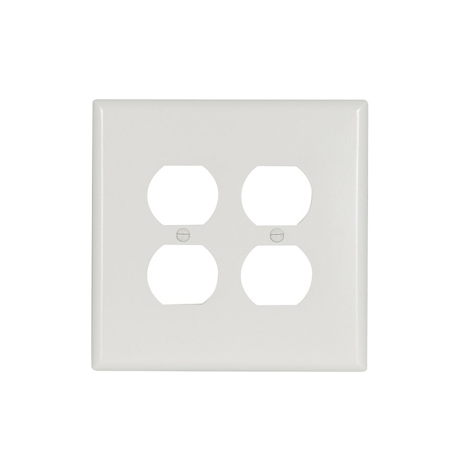 Eaton 2 Gang White Double Wall Plate At Lowes