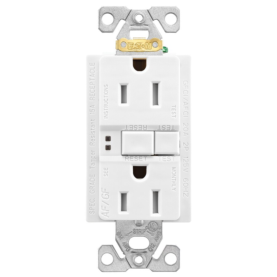 medium resolution of eaton white 15 amp decorator tamper resistant gfci afci residential outlet
