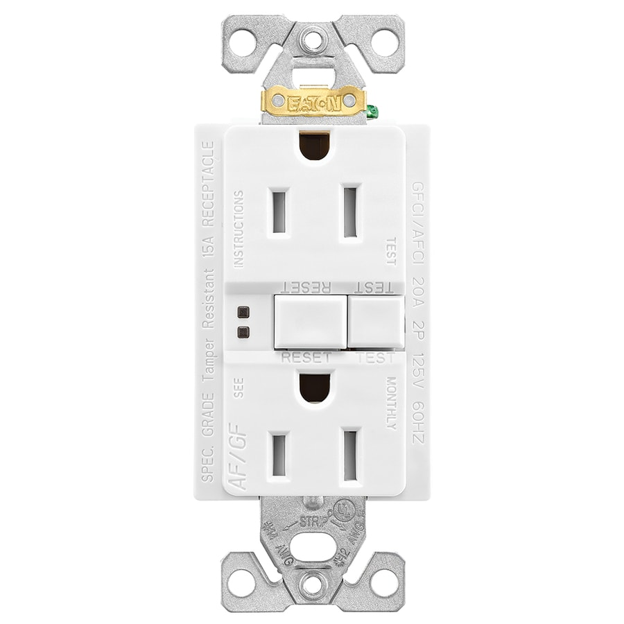 hight resolution of eaton white 15 amp decorator tamper resistant gfci afci residential outlet