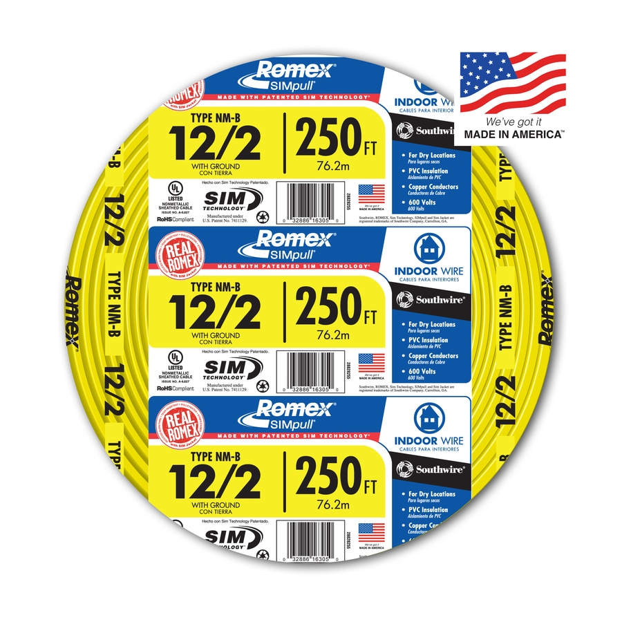 hight resolution of southwire romex simpull 250 ft 12 2 non metallic wire by the roll