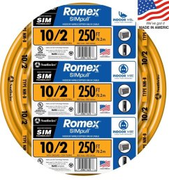southwire romex simpull 250 ft 10 2 non metallic wire by the roll  [ 900 x 900 Pixel ]