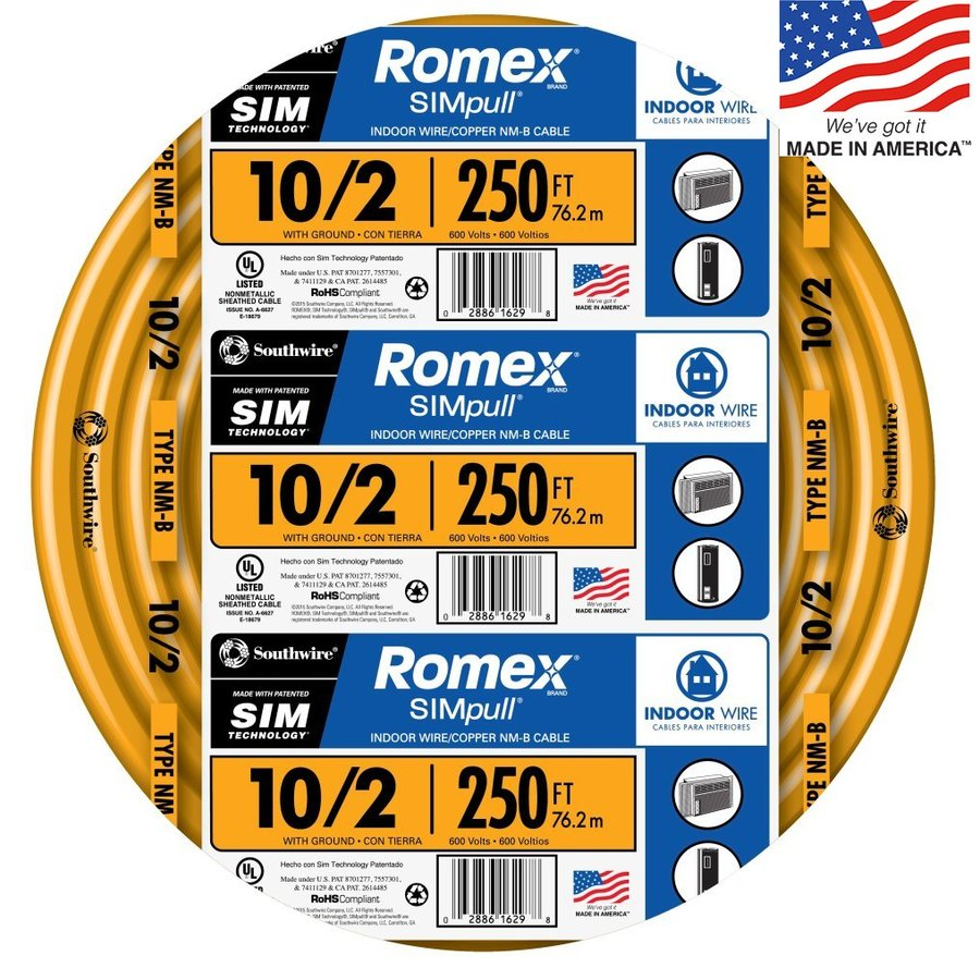 hight resolution of southwire romex simpull 250 ft 10 2 non metallic wire by the roll