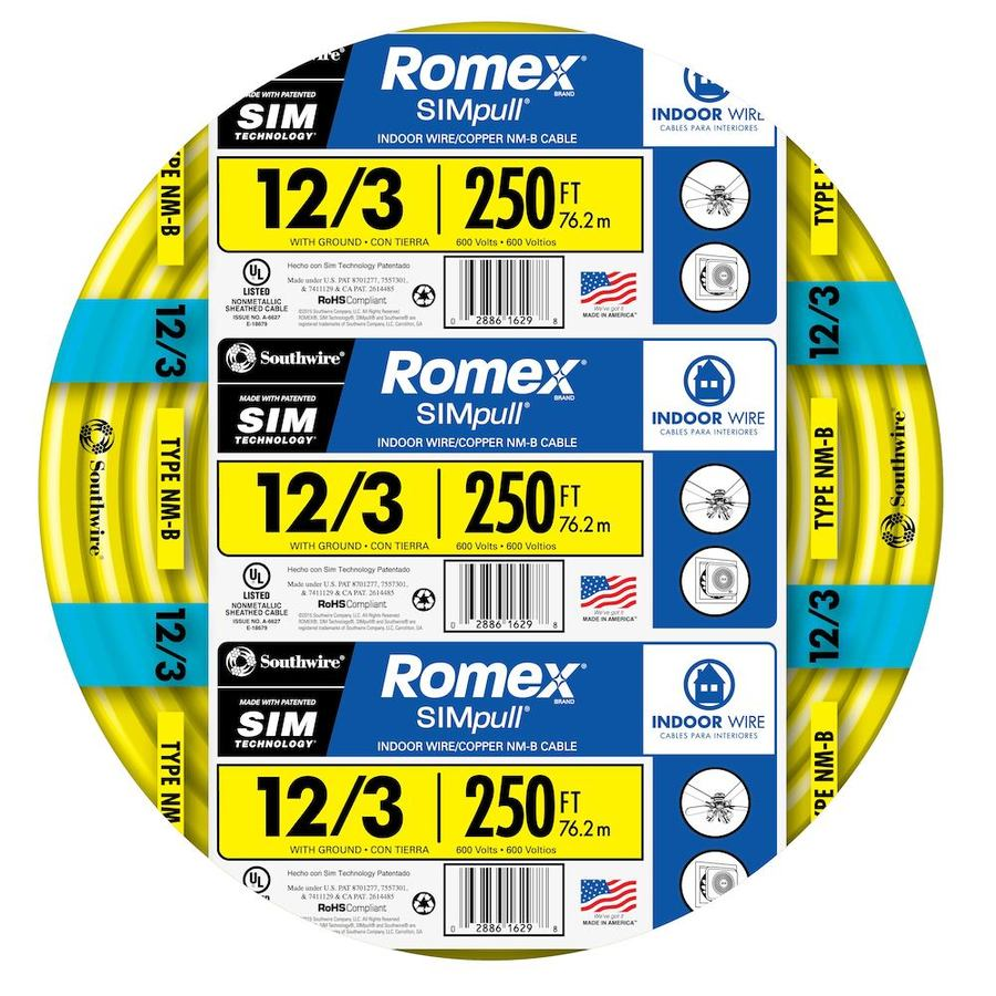 hight resolution of southwire 63947655 romex simpull 250 ft 12 3 non metallic wire by