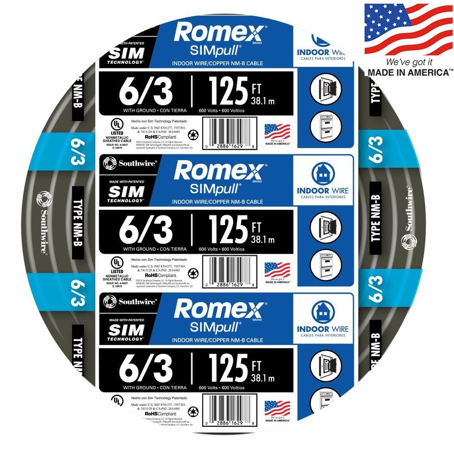 hight resolution of southwire romex simpull 125 ft 6 3 non metallic wire by the roll