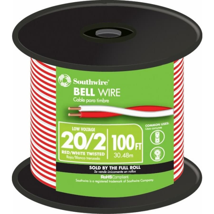 medium resolution of 100 ft 20 2 twisted doorbell wire by the roll