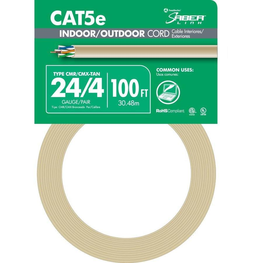 hight resolution of southwire 100 ft 24 4 cat 5e indoor outdoor beige data cable coil at lowes com