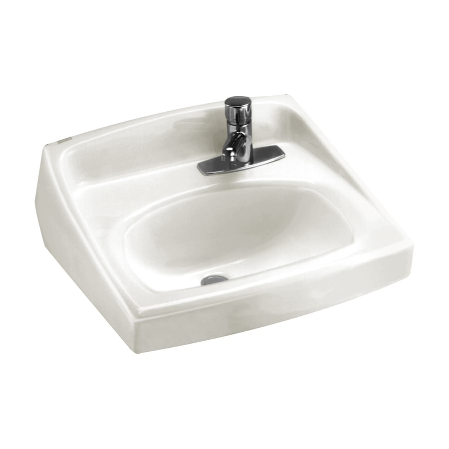 wall mount kitchen faucet lowes country shelves for shop american standard white wall-mount rectangular ...