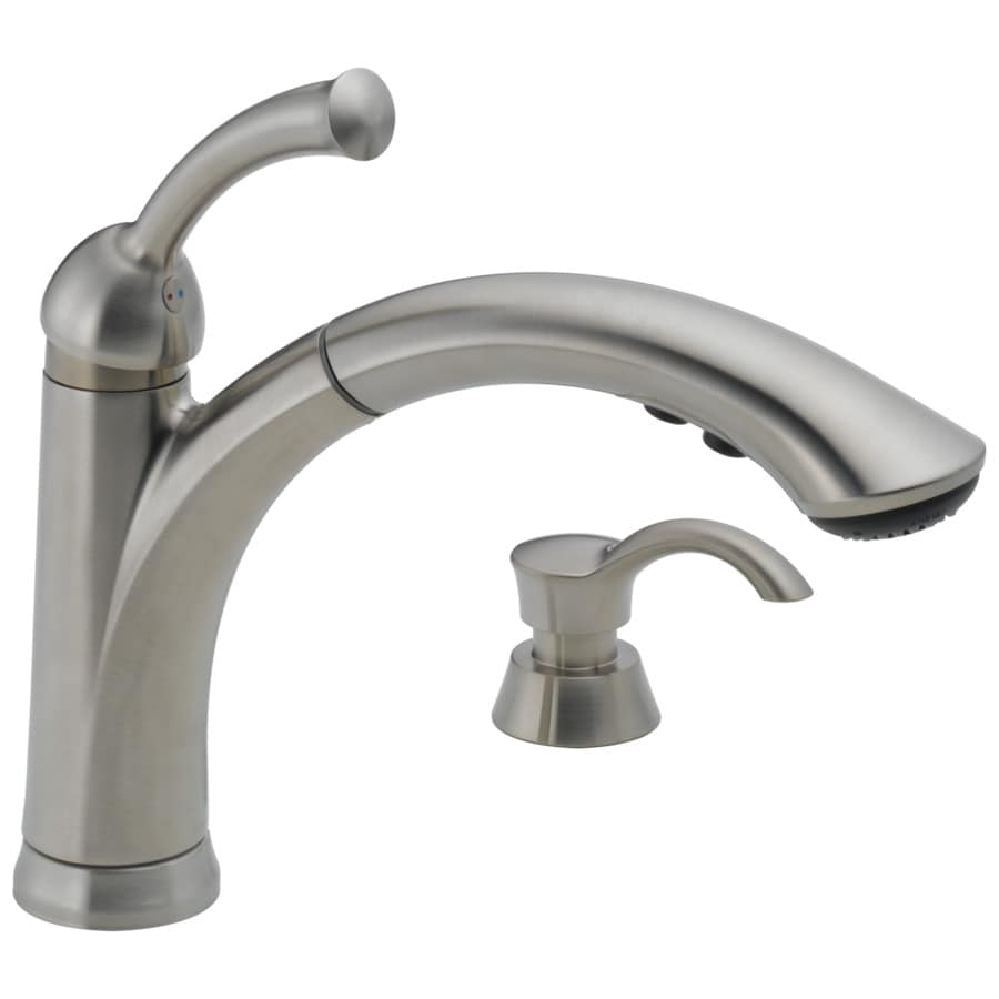 lowes delta kitchen faucets mats gel lewiston stainless 1 handle deck mount pull out faucet