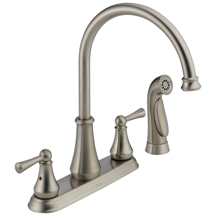 high flow rate kitchen faucets greenhouse windows for shop delta lewiston stainless 2-handle deck mount high-arc ...