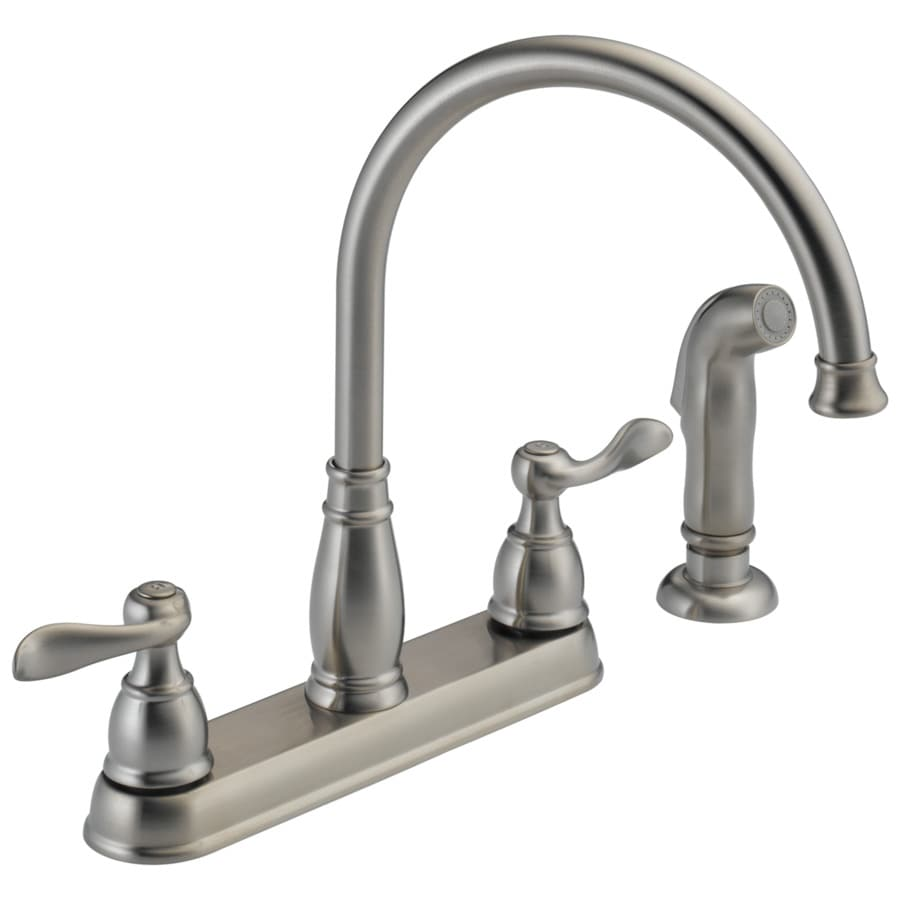 delta kitchen sinks corner booth windemere stainless 2 handle deck mount high arc faucet