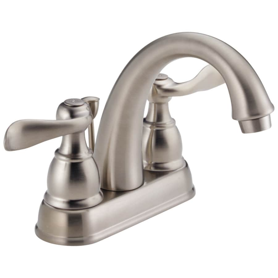 delta windemere stainless 2 handle 4 in centerset watersense bathroom sink faucet with drain