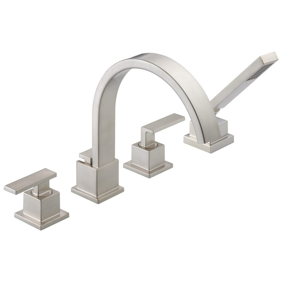 delta vero stainless 2 handle residential deck mount roman bathtub faucet